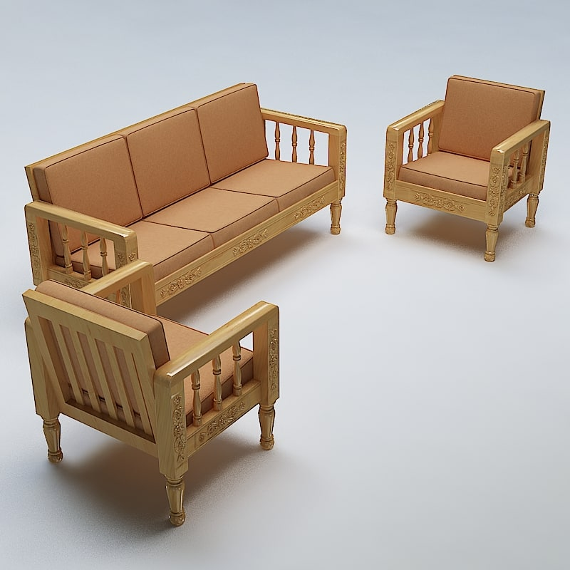 Wooden Sofa Set ~ Sofa set wooden d max