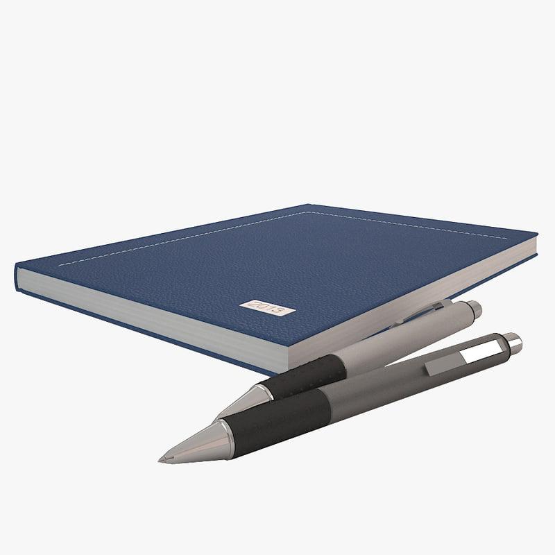 notebook pens 3d max