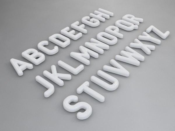 3d model font letter alphabet