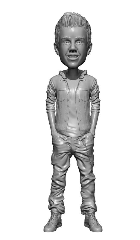 justin bieber bobble head 3d model