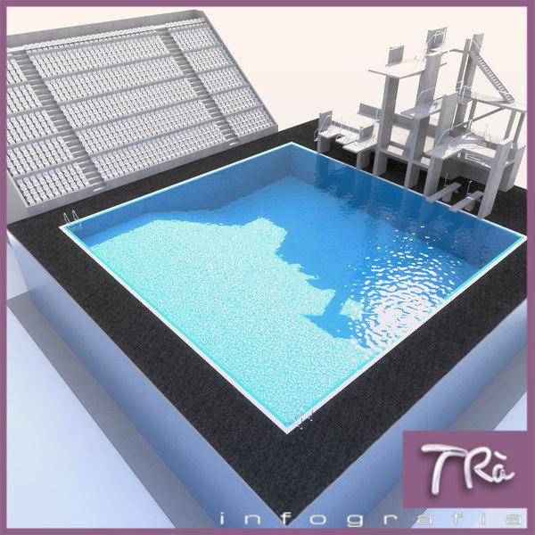 diving pool 3d max