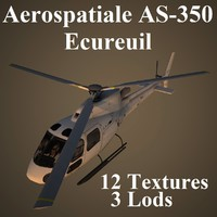 3d aerospatiale as-350 ecureuil model