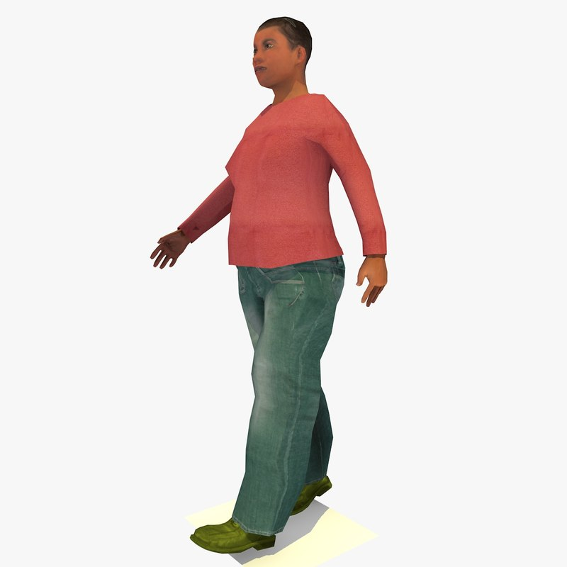 3d model realistically walking african joanna