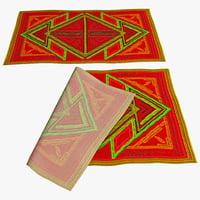 oriental rug 4 3d model