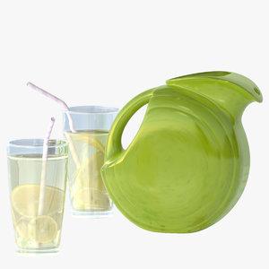 lwo fiestaware pitcher lemonade lemon