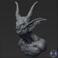 3d model goblin headbust sculpt head
