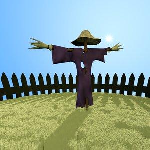 free scarecrow crow scare 3d model