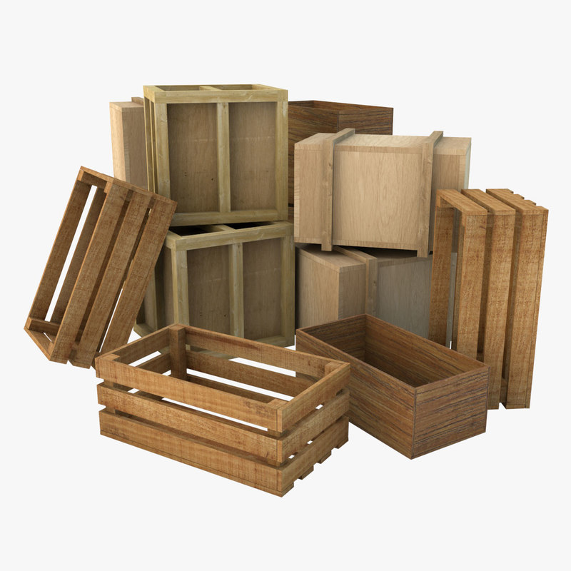 wooden crates wood c4d