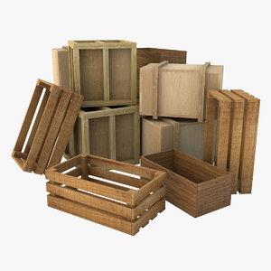 wooden crates wood c4d