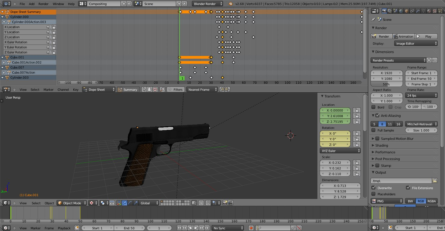 3d m1911 firing animation model