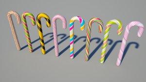 8 candy canes 3d c4d