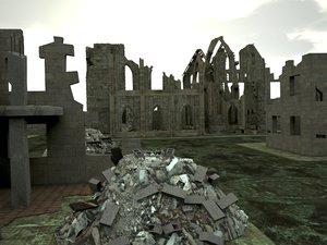 city ruin 3d model