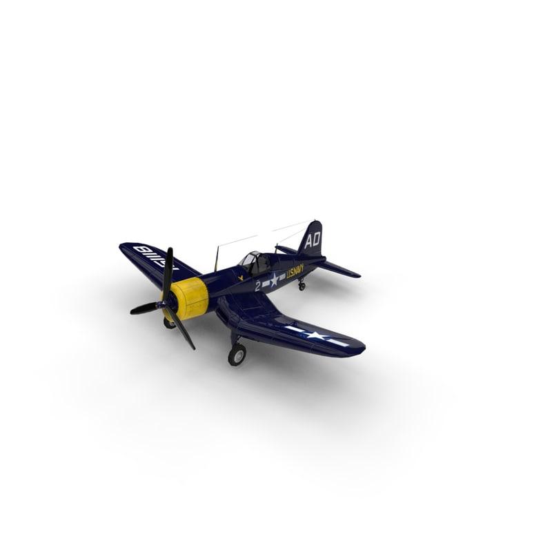 3d model vought f4u corsair