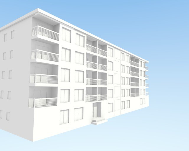 3d apartment block