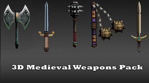 medieval weapons mace sword 3d model