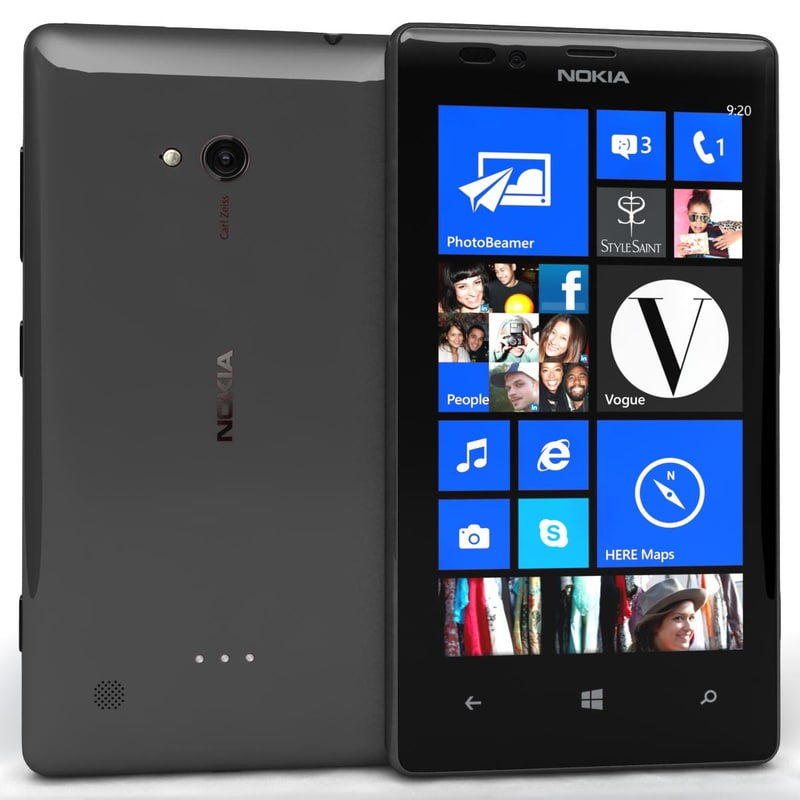 nokia lumia 720 black 3d 3ds