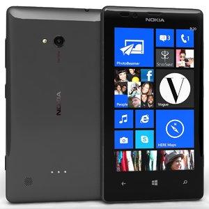 nokia lumia 720 black 3d 3ds
