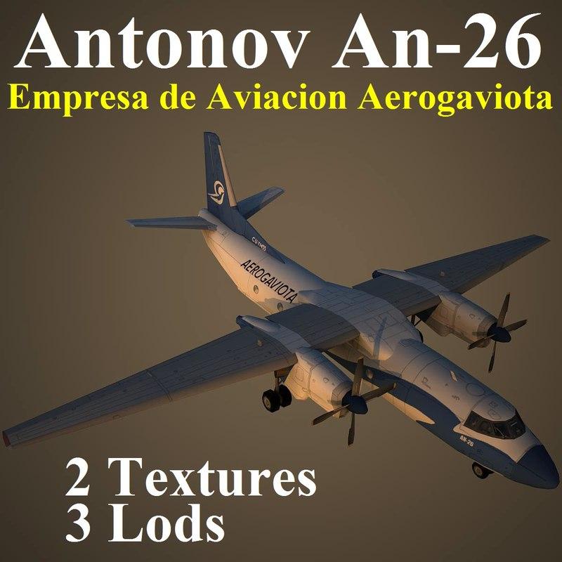an-26 gtv aircraft 3d max