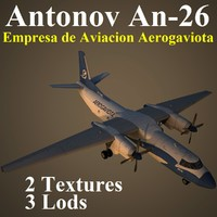 an-26 gtv aircraft 3d max