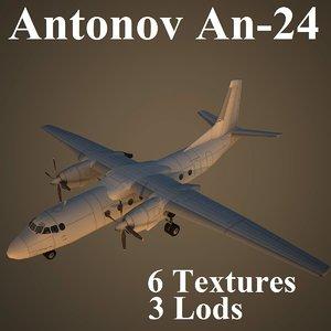 antonov an-24 low-poly max