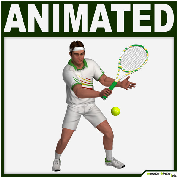 racket tennis player cg 3d model