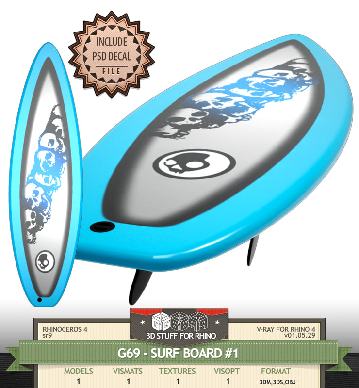 3d model surf surfboard board