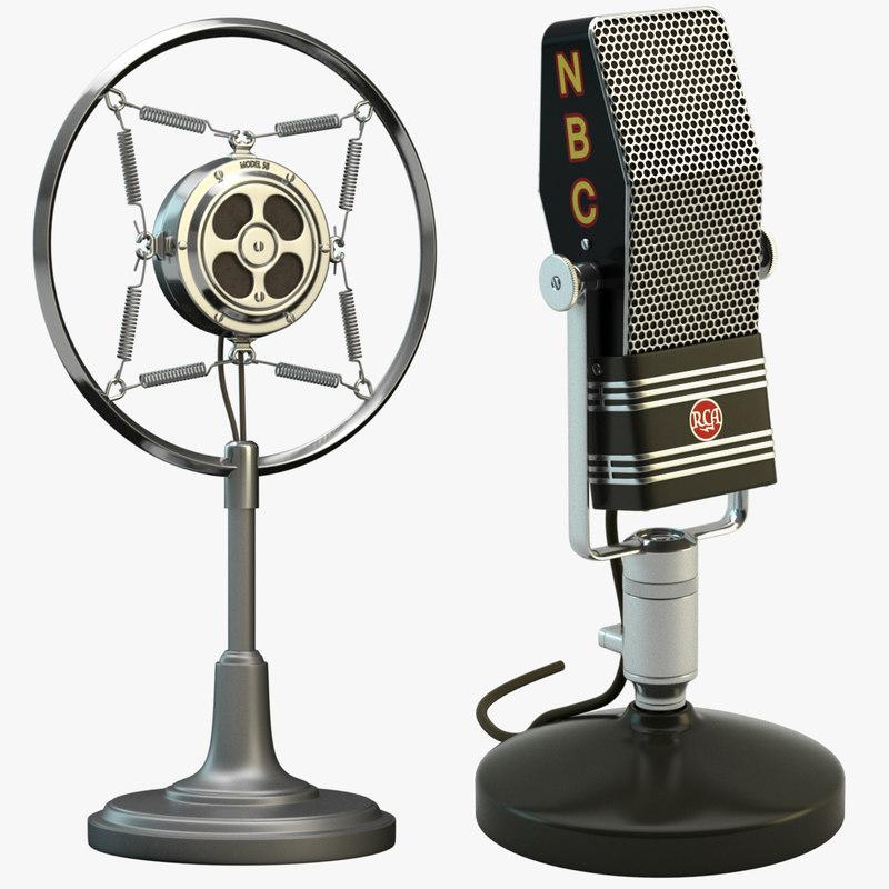 2 retro microphones set 3d model