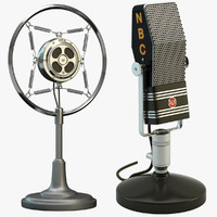 2 retro microphones set 3d model