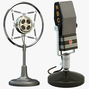 2 retro microphones set 3d obj