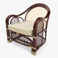3d model of outdoor rattan armchair