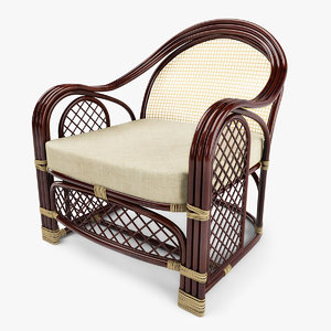 3d model of outdoor rattan armchair