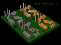 3d real wood set