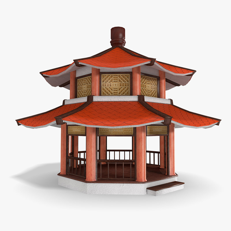 low-poly chinese pagoda 3d model