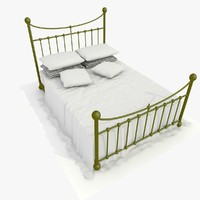 Metal Bed 2 White Sheet