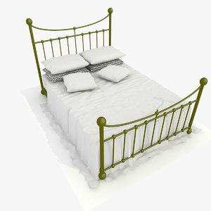 metal bed white sheets 3d 3ds
