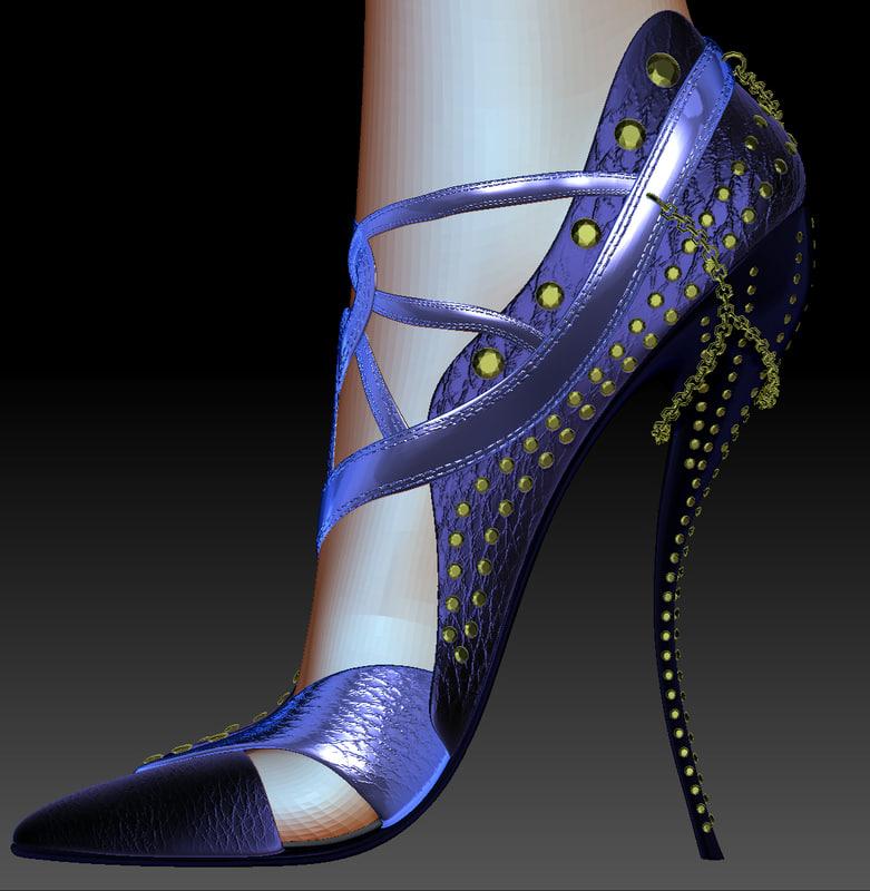 3d model realistic female shoes