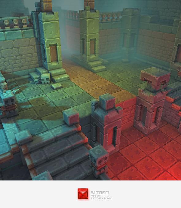 3d pixel dungeon set