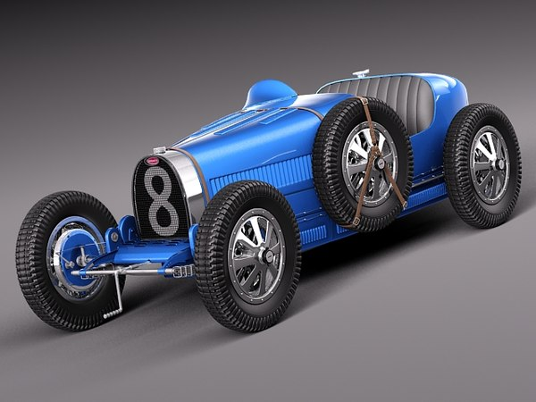 3d classic antique 1929 bugatti