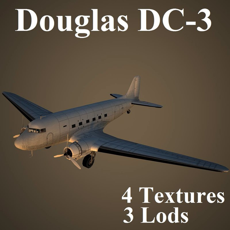 douglas dc-3 3 3d model