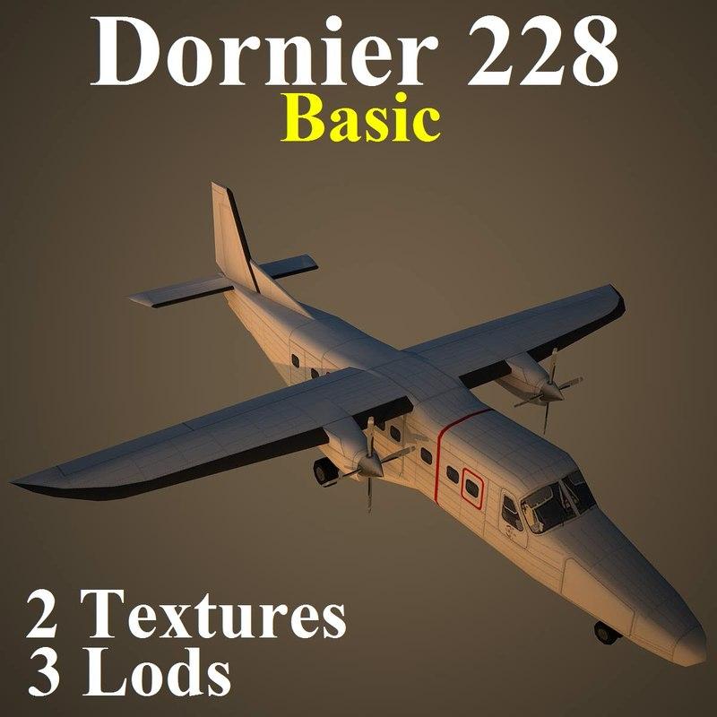 dornier 228 basic aircraft 3d max