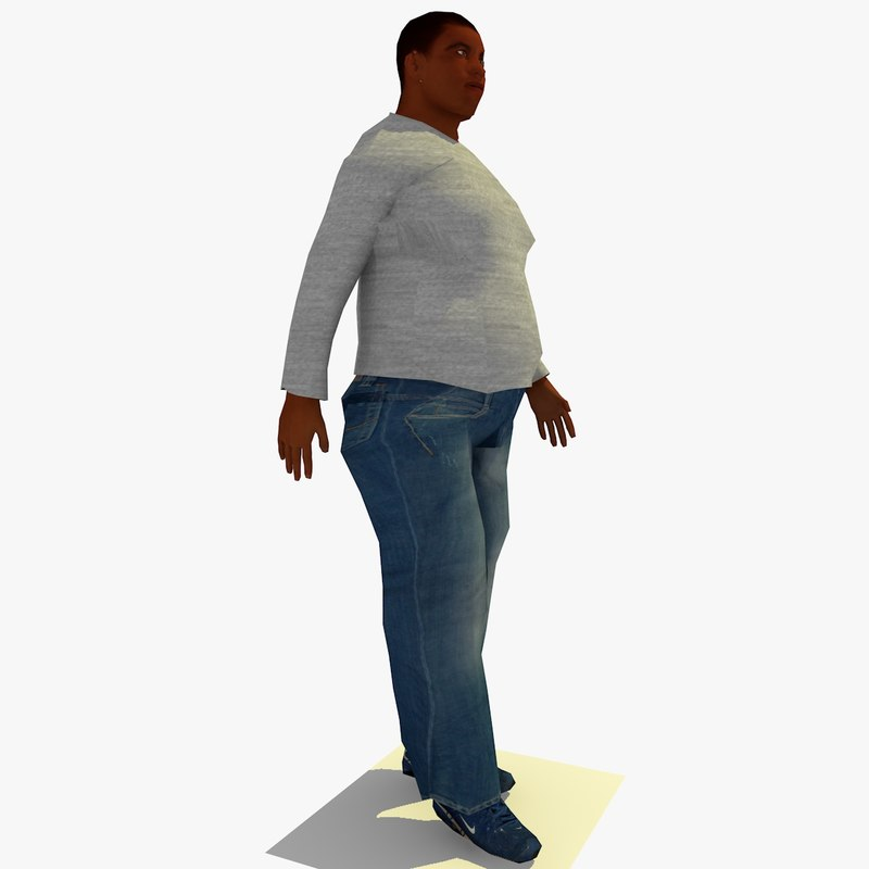 realistically walking african fat 3ds