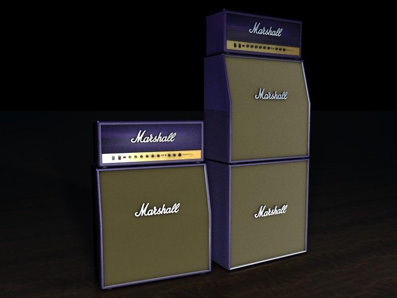 3d model marshall stack purple