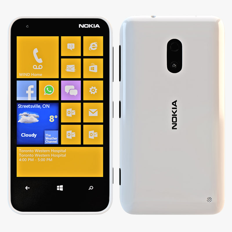 3d model nokia lumia 620 white