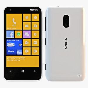 3d model nokia lumia 620 white