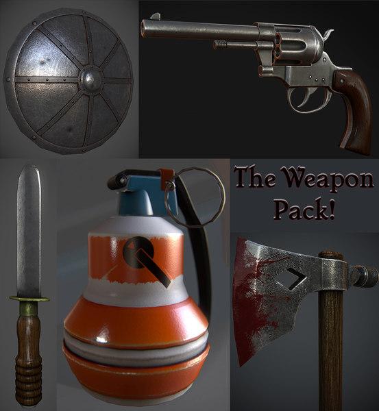 weapons shield revolver 3d obj