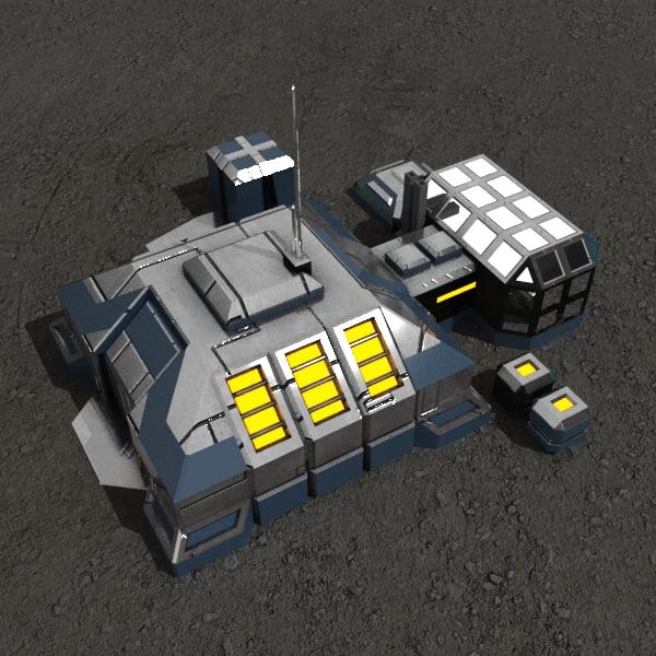 warehouse sci-fi building 3d model