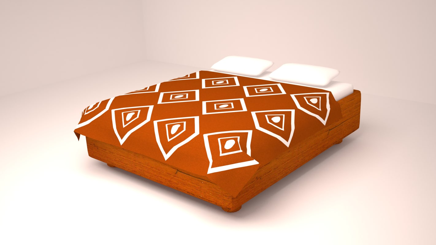 3d wooden double bed model