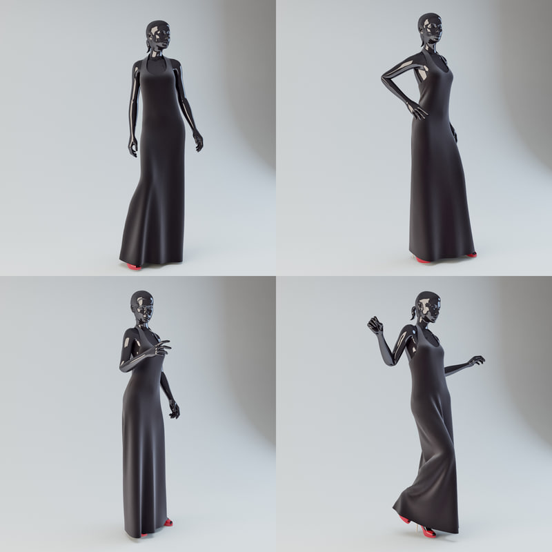 3d showroom mannequin 01 dress model
