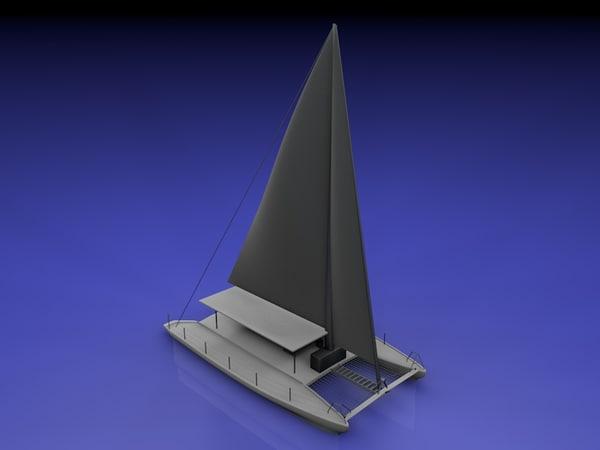 free simple catamaran sail boat 3d model