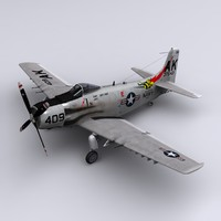 skyraider attack spad 3d model